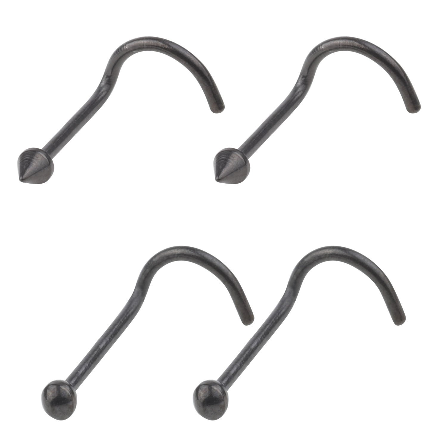 4Pcs 20G(0.8mm) Black 316L Surgical Steel Curved Nose Stud Bone Ring Twister Screws With 2mm Ball And Spike Piercing Jewelry Fashion Piercing Jewelry A+ CM