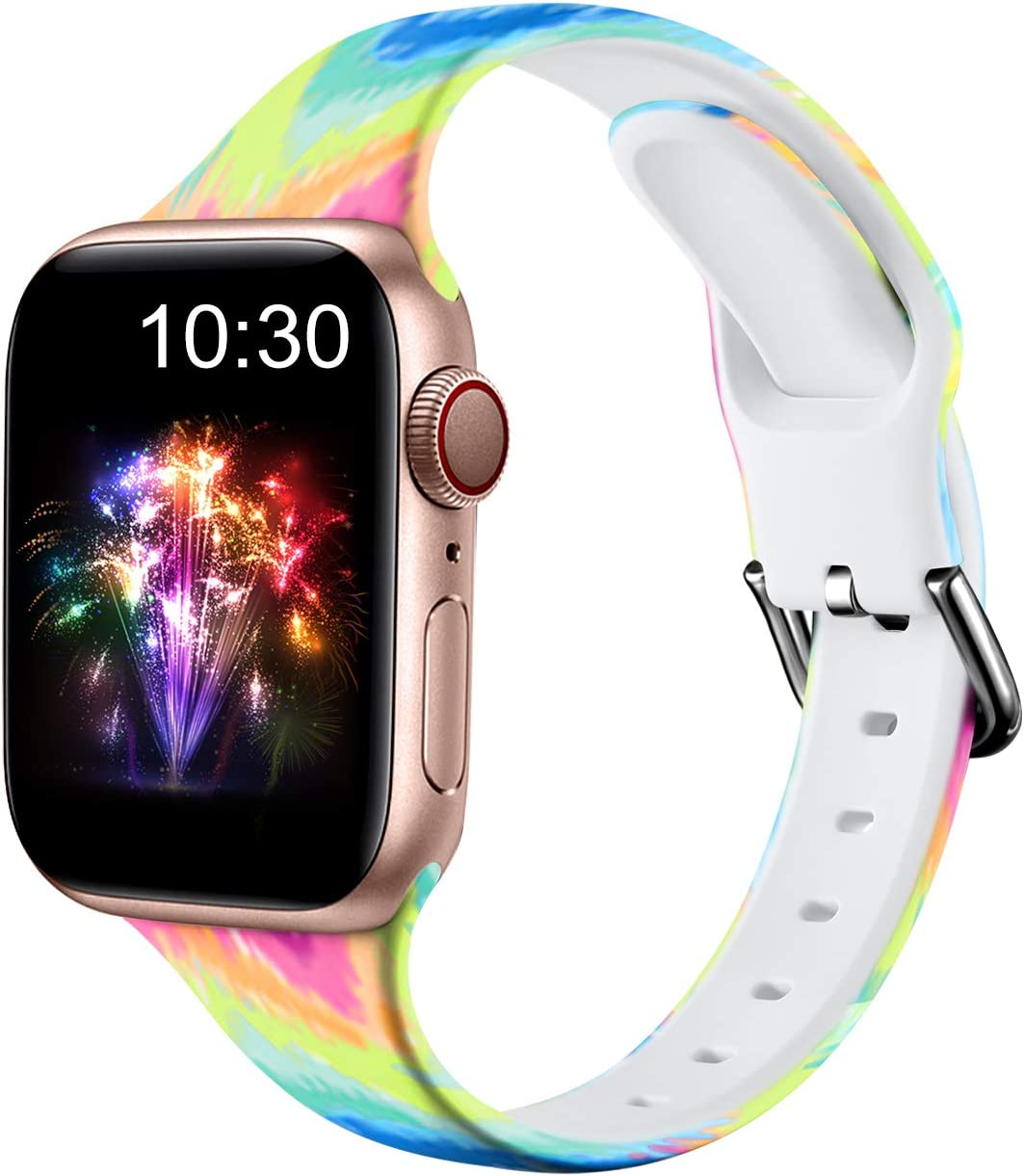 Nofeda Bands Compatible with Apple Watch Band 42mm 44mm iWatch Series 6 5 4 3 2 1 & SE, Slim Silicone Printed Fadeless Replacement Strap Band for Women Men, Rainbow