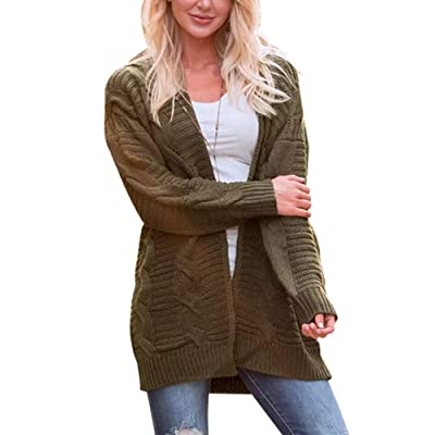NVXIYYA Women Casual Long Sleeve Open Front Loose Chunky Cable Knitted Sweater Cardigans at Women's Clothing store