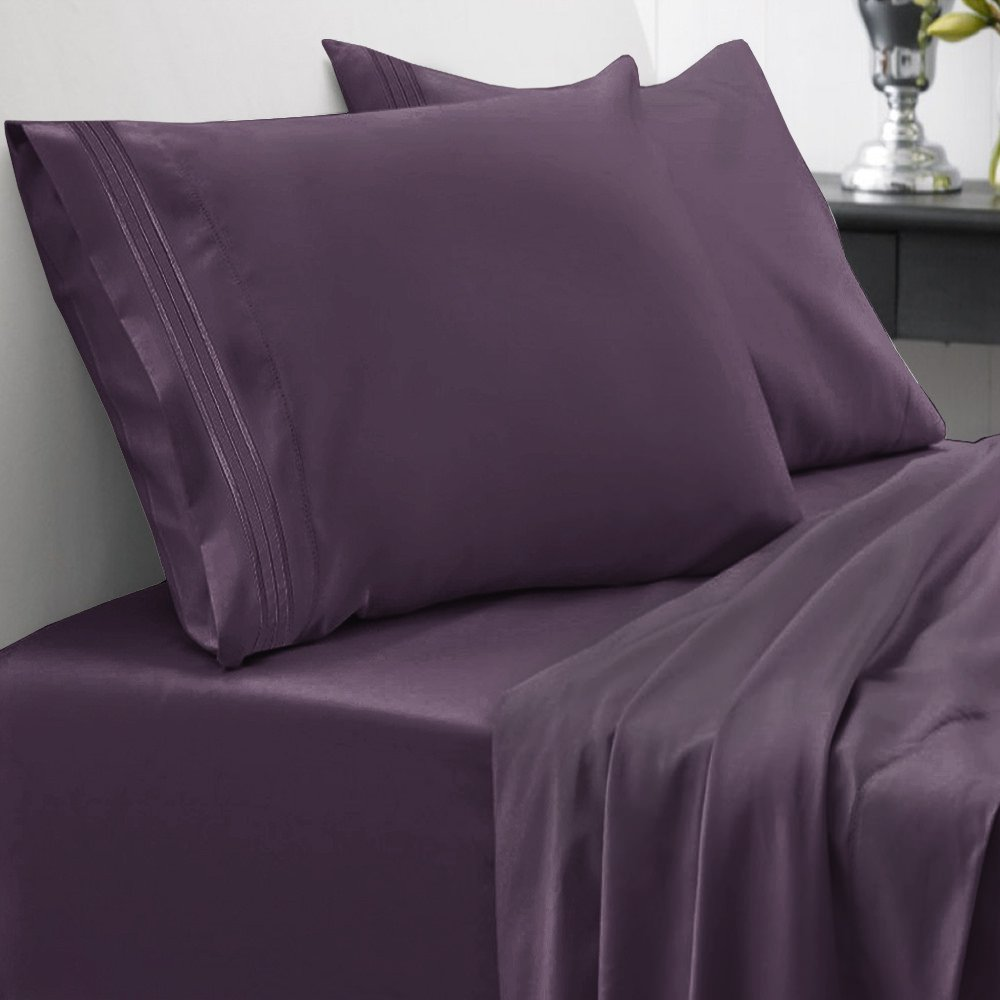 1500 Series Bed Sheet Set Brushed Microfiber 1500 Bedding - Wrinkle, Fade, Stain Resistant - Hypoallergenic 4 Piece Bed Sheet Set - California King, Purple