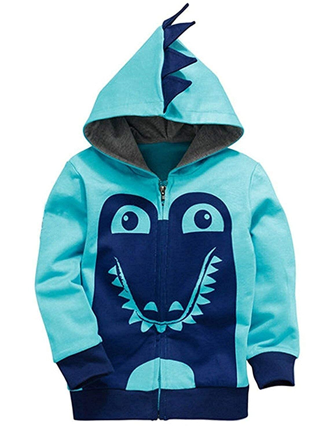Qmislg Toddler Jackets Boys Cartoon Dinosaur Hoodie Long Sleeve Zipper Hooded Sport Sweatshirt for Kids