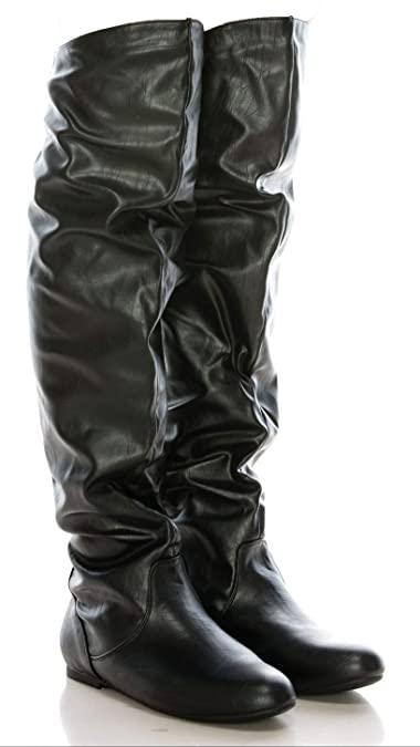 347f5242699 Over The Knee Boots High Low Heel - Slouch Faux Leather
