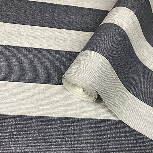 76 sq.ft Made in Italy Portofino wallcoverings modern embossed flocked Vinyl Non-Woven Wallpaper flocking onyx blue silver metallic flock lines stripes striped velvet design textured wallpapers rolls