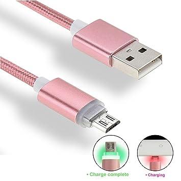 iMusi Cable Cargador USB con LED, Cable de Carga Rápida para Android, USB Cable de Datos con indicador LED (1m, Nylon, Oro Rosa)