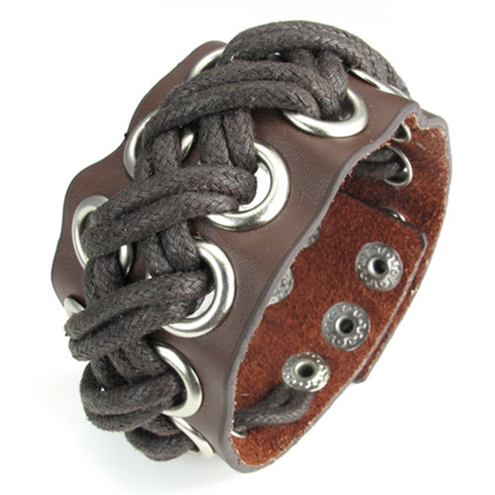 TEMEGO Jewelry Wide Leather Rope Cord Bracelet Punk Rock,Adjustable Fits 7.5-8.5