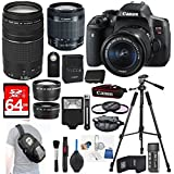 Canon EOS Rebel T6i Digital SLR + 18-55mm STM + Canon 75-300mm III Lens + Slave Flash+ 64GB SDXC + Remote + Complete Cleaning Kit + Accessory Bundle - 3pc Filter Kit + Sling Backpack