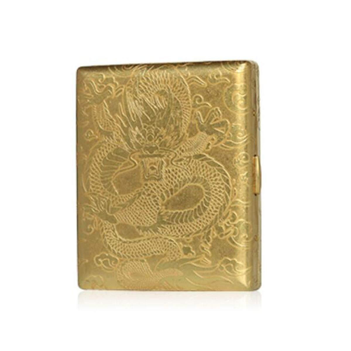 KALMAR Cigarette Case, Portable Metal Thin Double Open Cigarette Case, Vintage Copper Material, Size 9.5 8.0 1.6 cm, Gold Cigarette Box Cigar Protective Cover