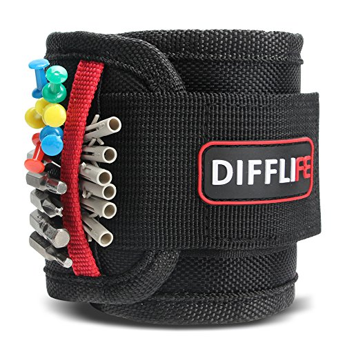 DIFFLIFE Magnetic Wristband, with 10 Strong Magnets for Holding Screws, Nails, Drilling Bits, Adjustable Wristband Tools with 2 Storage Pockets for Non-magnetic Perfect Gift for Men (Set of 1) - Non Magnetic Bit