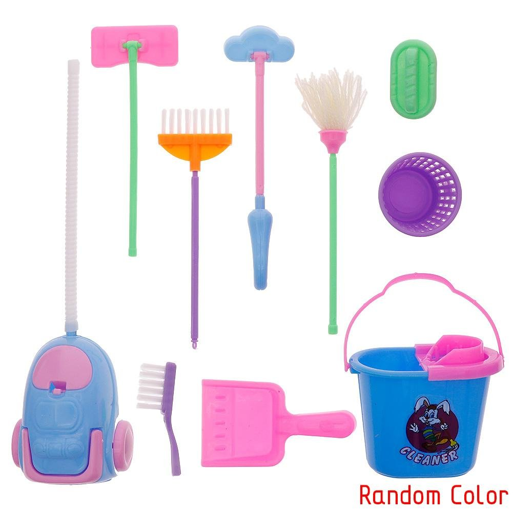 ZHUOTOP 9Pcs Home Furniture Furnishing Cleaning Cleaner Kit for Barbie Doll House