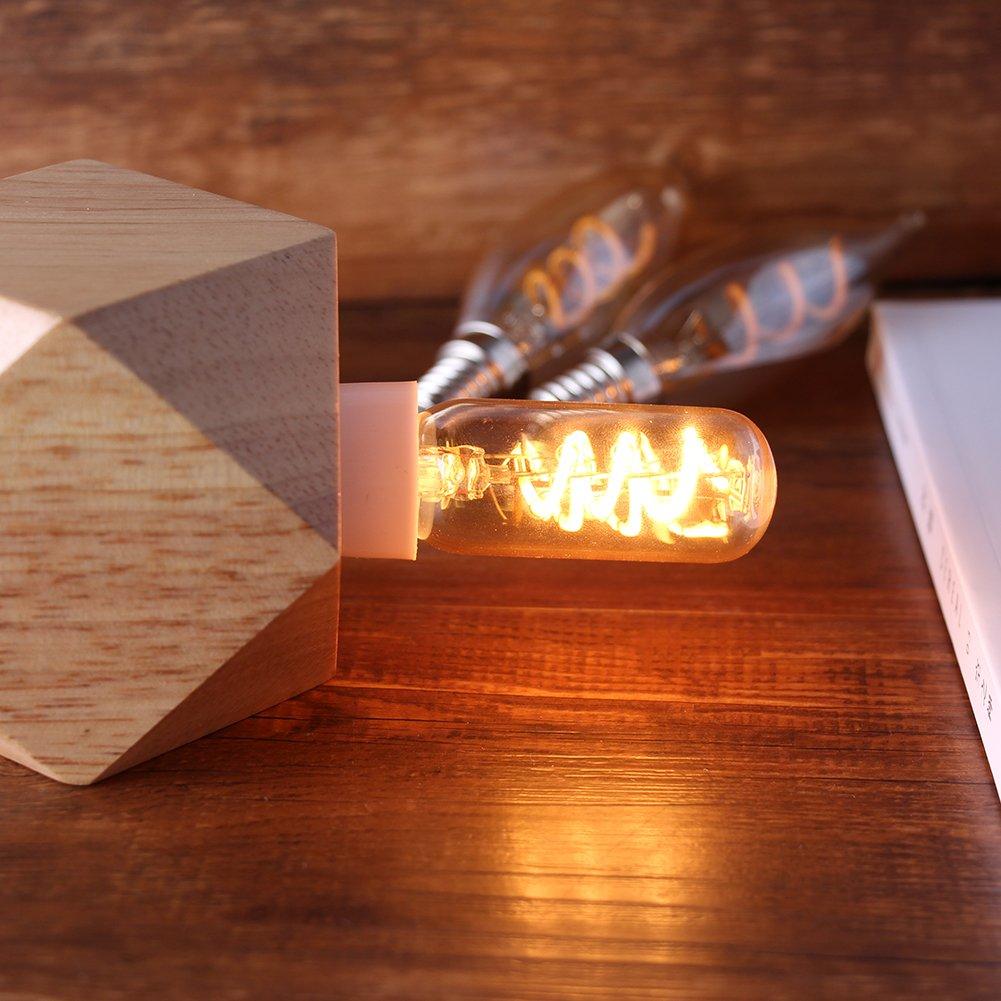 Dimmbar,Spirale Leuchtmitte 6x T25 Vintage Gl/ühfaden LED Kerze ersetzt 25W E14 3W 150lm 2200K extra warmwei/ß 360/° 230V Century Light