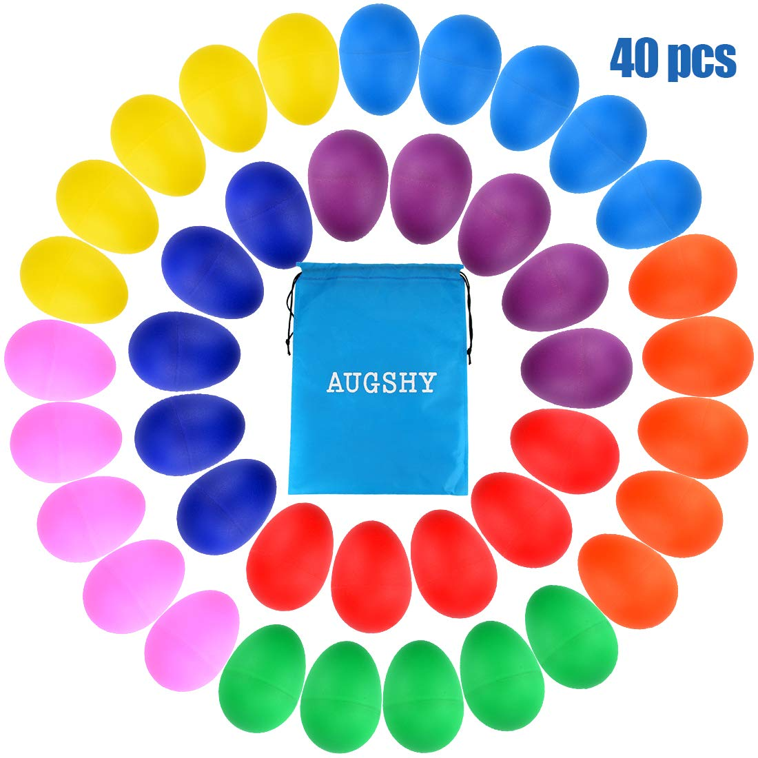 40 Pieces Plastic Egg Shakers Percussion Musical Egg Maracas with a Storage Bag for Toys Music Learning DIY Painting(8 Different Colors) by Augshy