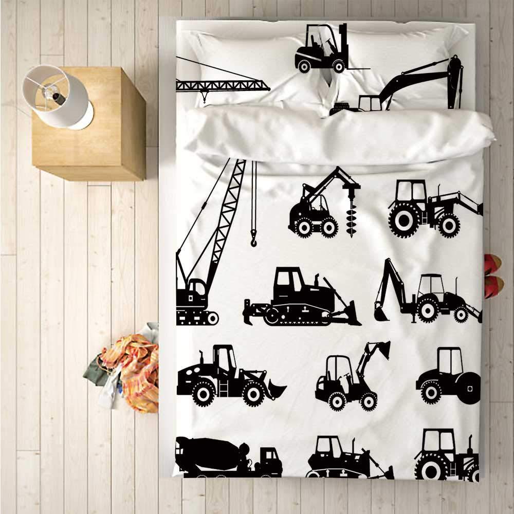 Construction Soft 4 Piece Bedding Set,Black Silhouettes Concrete Mixer Machines Industrial Set Trucks Tractors for Bedroom,One Side Print : Singe