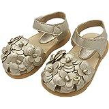 LINKEY Toddler Girl's Summer Closed Toe Floral Sandals Princess Flat Shoes