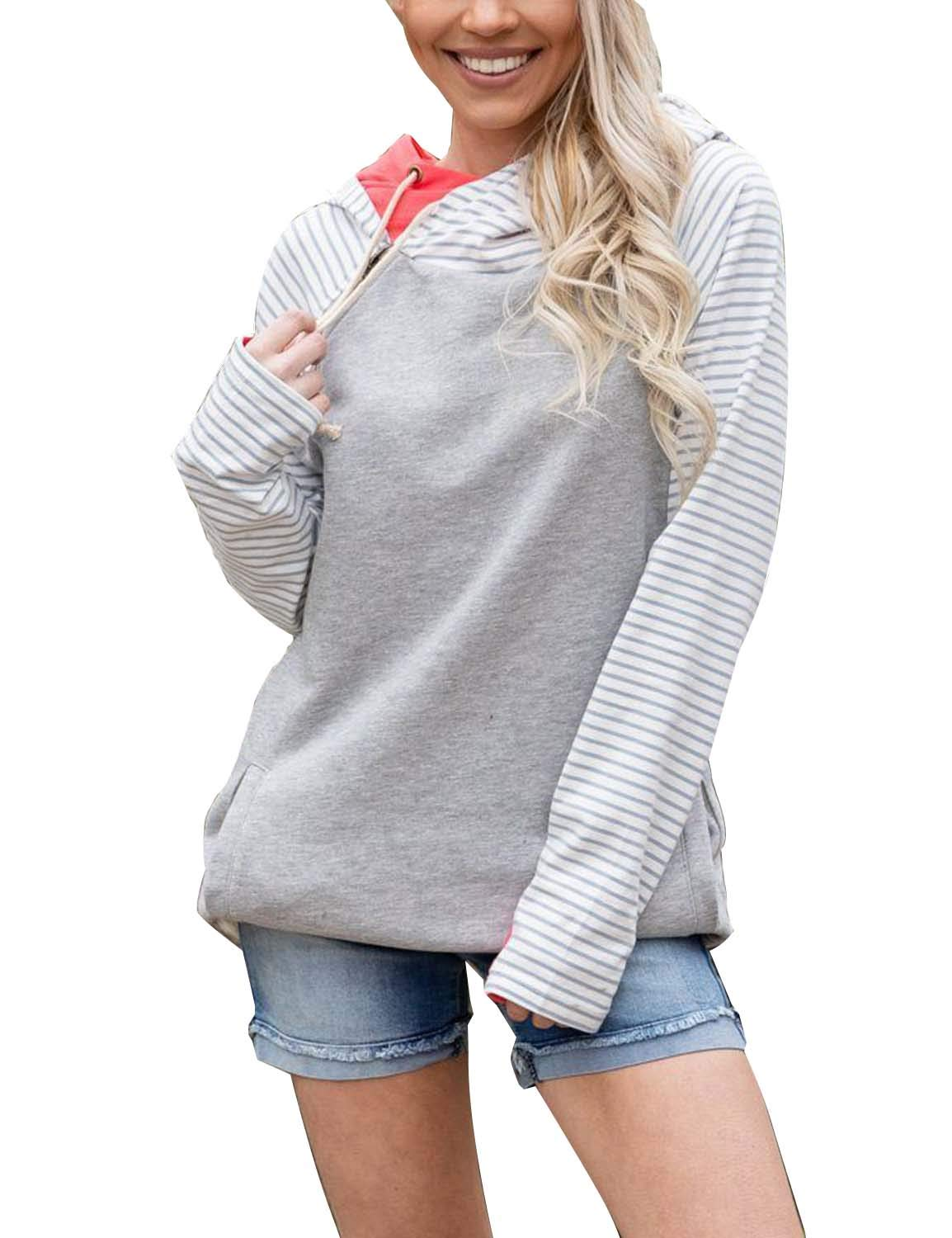 BMJL Women's Long Sleeved Hoodie Loose Fit Basic Striped Patchwork Contrast Color Tunic