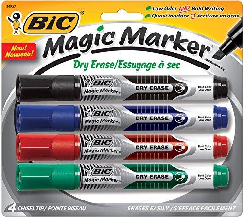 BIC GELITP41AST Magic Marker Low Odor & Bold Writing Dry Erase Marker, Assorted, 4/Pk (BICGELITP41AST) GELITP41-AST