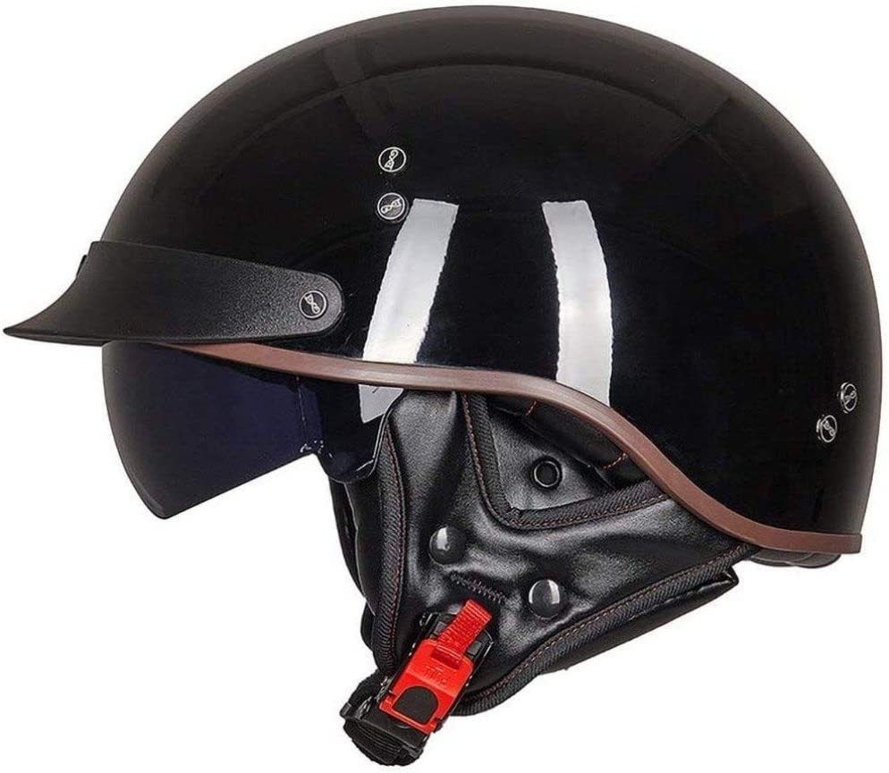 Brain-Cap Motocicleta Medio Casco Casco Jet Casco De Cara Abierta Dot/ECE Certificado Cruiser Chopper Patineta Ciclomotor Crash Hard Hat Gafas Incorporadas,J-XL=(61~62cm): Amazon.es: Hogar