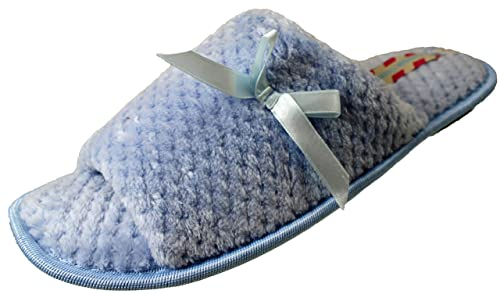 Jyoti Ladies Girls forro polar acolchada puntera abierta lazo Mulas Zapatillas Rosa Azul 3/4 5/6 7/8, color Azul, talla 35.5: Amazon.es: Zapatos y ...