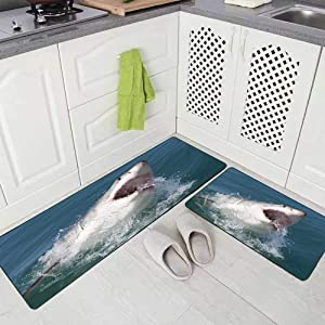 "Musesh 2 Pieces Kitchen Rugs and Mats Non Skid Washable Great White Shark South Africa Kitchen Rug Set 17""X48""+17""X24"" Kitchen Carpets and Rugs Modern Kitchen Rug"
