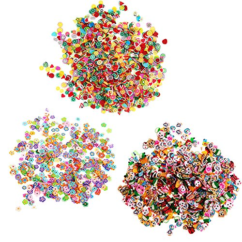 3000 Pcs 3D Fimo Nail Art Sticker Manicure Nail Art Slices Decorations Beauty Tool DIY slime goo floater,Flower,Animal,Fruit by Team-Management