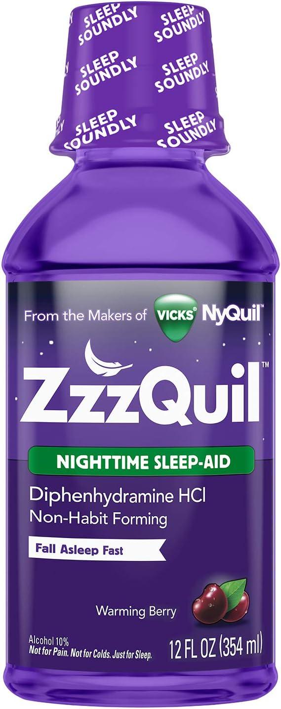 Amazon.com: ZzzQuil Nighttime Sleep Aid Liquid, 12 fl oz, Warming Berry Flavor: Health & Personal Care