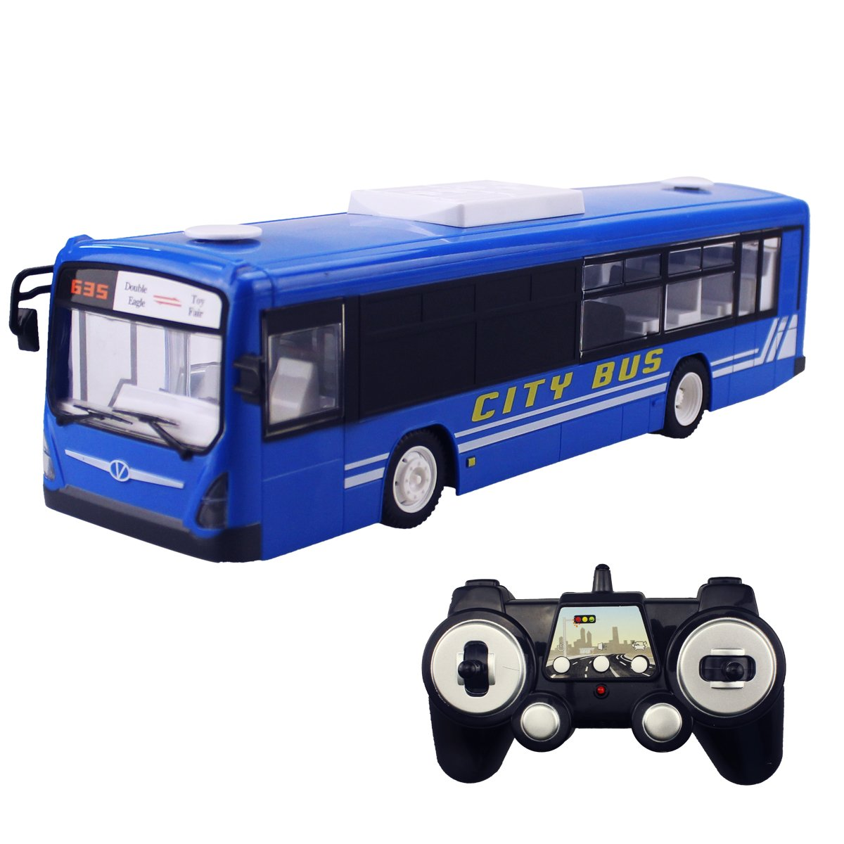 Hugine 2.4G RC Bus With Opening Doors And Realistic Sounds 6 Channel Remote Control City Bus Express Bus School Bus Rechargeable Toy For Kids (Blue)