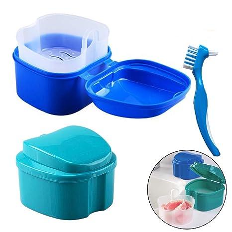 Caja de Dentadura - Caja de almacenamiento de dientes falsos Hatisan-Pro con contenedor de red colgante, caja de protección superior para boca con ...