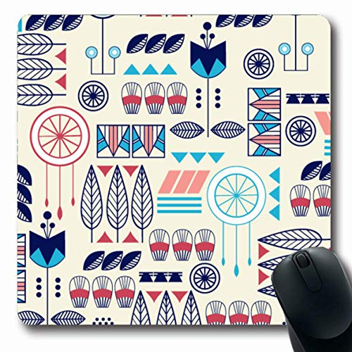 Ahawoso Mousepads Indian Blue Pattern American Abstract Southwest Colored Orange Mayan Native Pueblo Tribal Arrow Oblong Shape 7.9 x 9.5 Inches Non-Slip Gaming Mouse Pad Rubber Oblong Mat