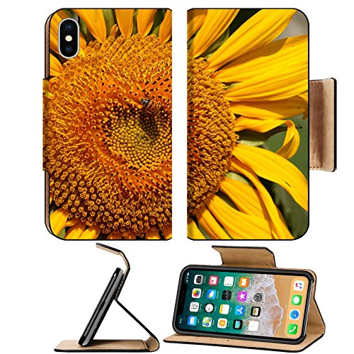 Luxlady Premium Apple iPhone X Flip Pu Leather Wallet Case IMAGE ID 25475354 Beautiful radiant sunflower with a bee sucking nectar from its - Nectar Shipping