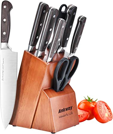 Compra Ankway Juego de Cuchillos de Cocina Profesional, 8 Piezas Cuchillos de Cocina con bloque de madera Hecho de Acero Alemán X50Cr15 Incluye Afilador de Cuchillos Tijeras (Plata) en Amazon.es
