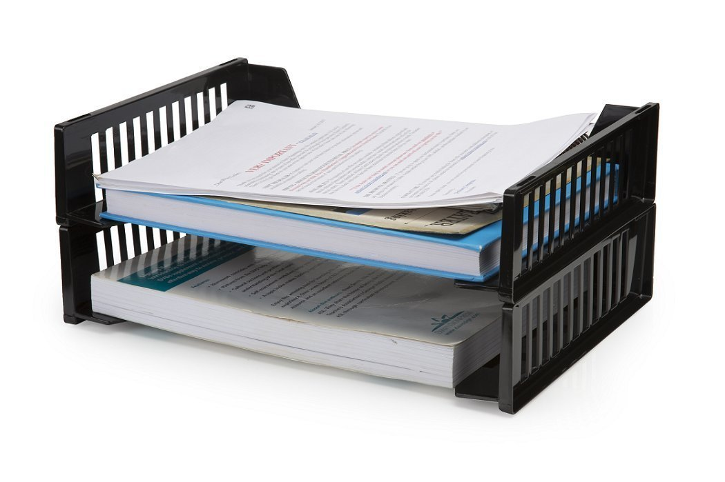 "1InTheOffice Desk Tray, Side Load Letter Tray""2 Pack"""