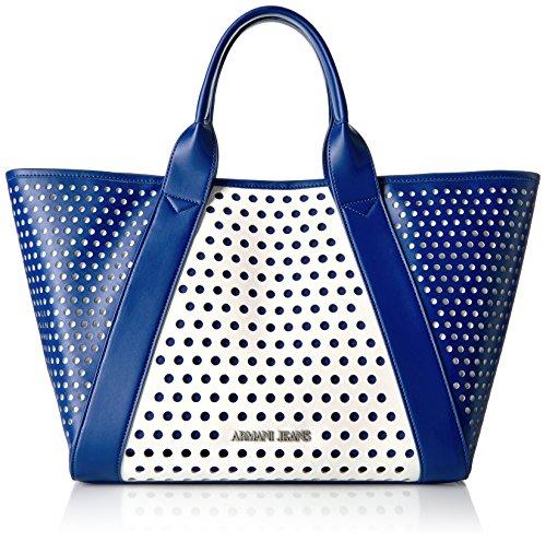 ARMANI JEANS Borsa shopping a mano traforata in ecopelle BLU/BIANCO 922145