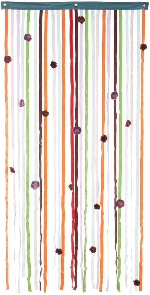 HAB & GUT -DV0284- Cortina para Puertas, Tejido/Flores, Multicolor, 90 x 180 cm