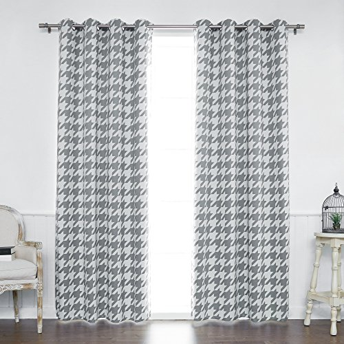"Best Home Fashion Large Houndstooth Room Darkening Blackout Grommet Curtains – Stainless Steel Nickel Grommet Top – Grey – 52""W x 84""L - (Set of 2 Panels)"