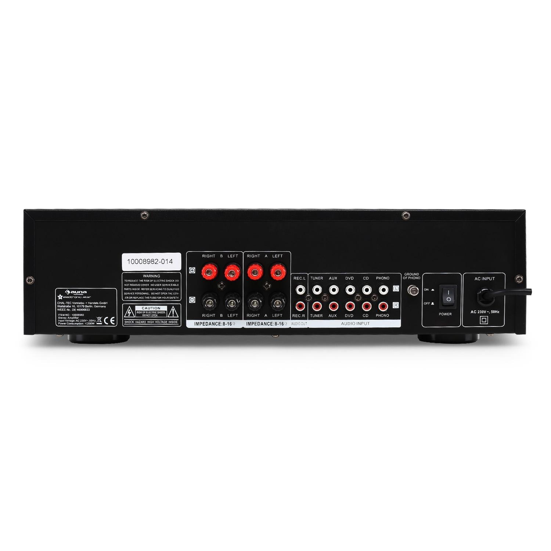auna CD708 - Home Cinema Estéreo Amplificador de Audio, 125 W RMS, 5 Entradas RCA, 1 Salida RCA, Mando a Distancia, Salida Frontal de Auriculares, ...