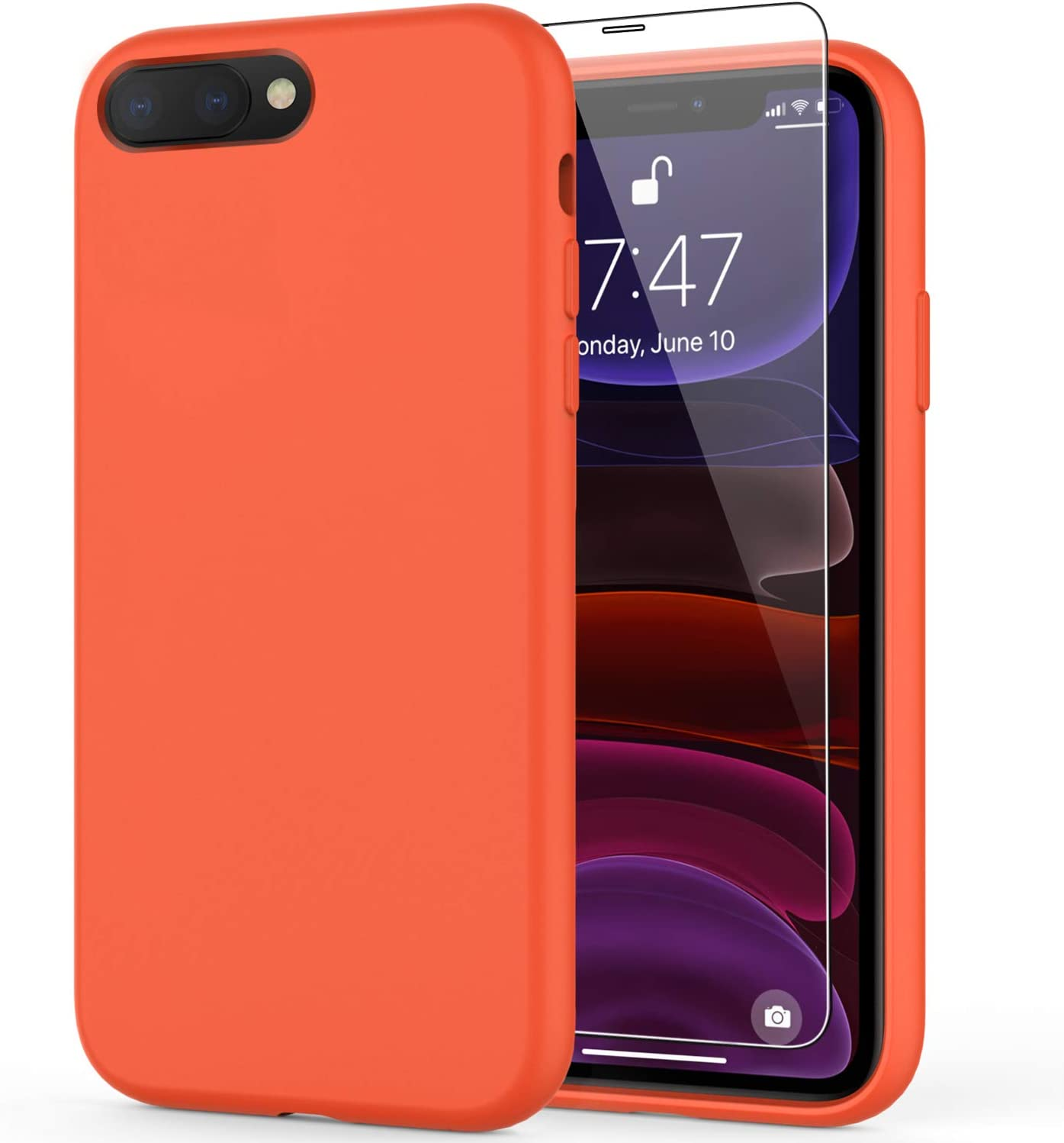 DEENAKIN iPhone 8 Plus Case,iPhone 7 Plus Case with Screen Protector,Soft Liquid Silicone Gel Rubber Bumper Cover,Slim Fit Shockproof Protective Phone Case for iPhone 7 Plus/iPhone 8 Plus Orange