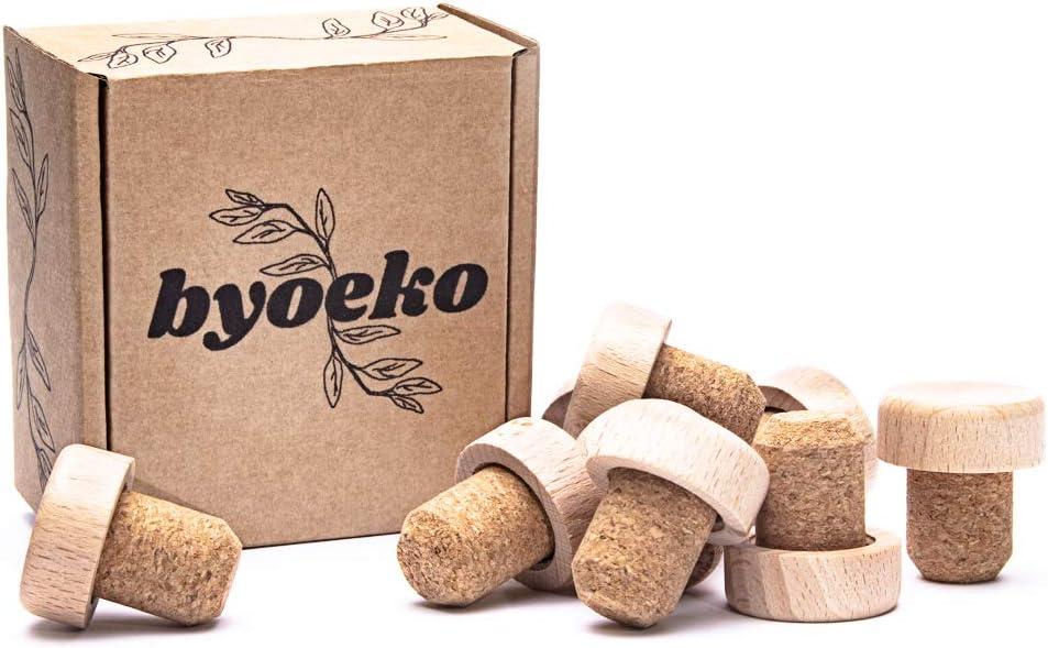 Byoeko Tapones de Corcho Natural con Cabeza de Madera para Botellas de Vino, aceites, Bebidas o líquidos, 10 Unidades