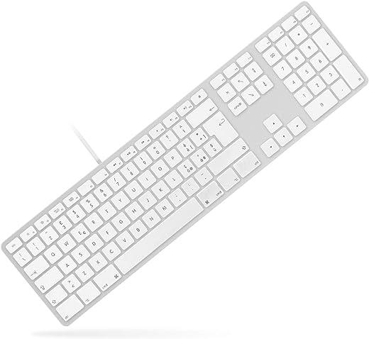 MATIAS CORPORATION Partner Apple Tastiera Alluminio con Cavo Layout ITA, Tastiera Italiana (QWERTY) con filo Gaming con Controllo Volume e Hub 2 porte Usb,Tastierino Numerico, per Mac e PC