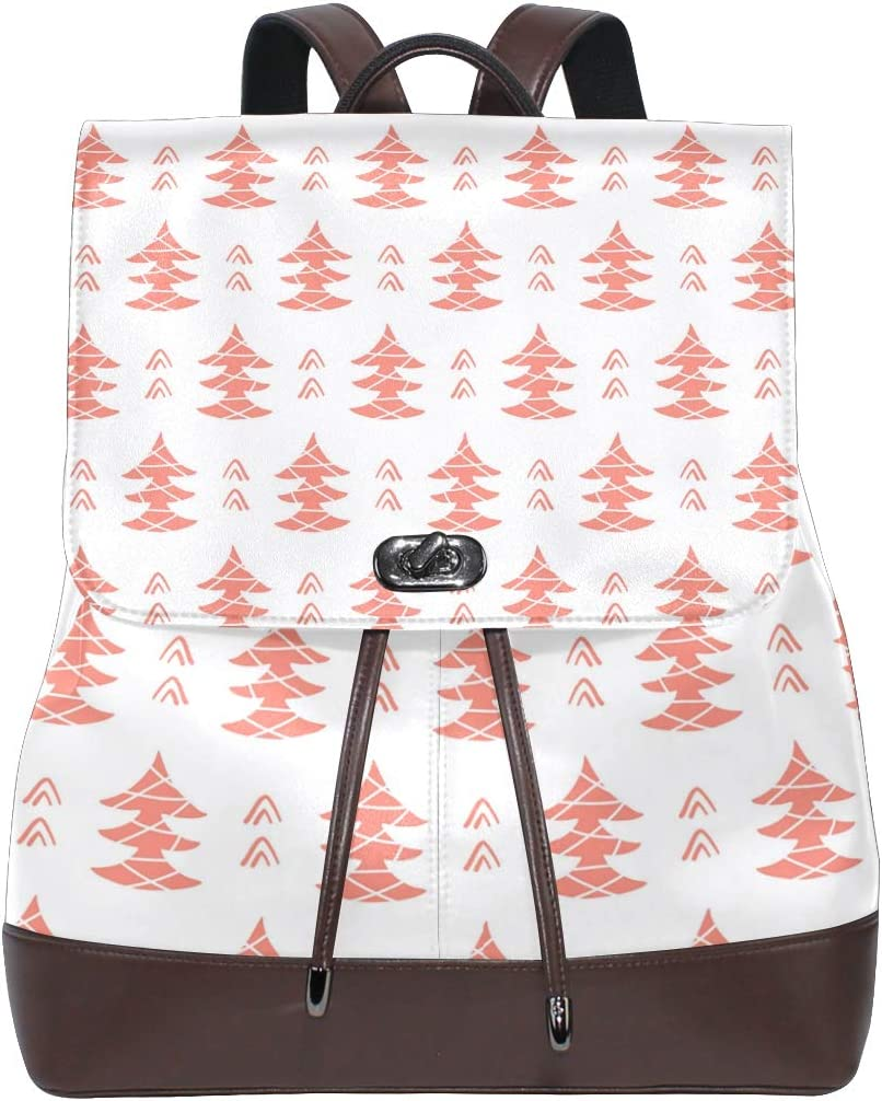 Unisex PU Leather Backpack Winter Forest Tree Christmas Xmas Pink Print Womens Casual Daypack Mens Travel Sports Bag Boys College Bookbag