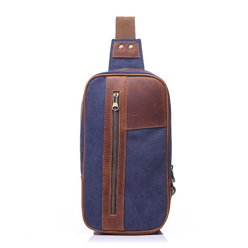 Havanadd Herren Brusttasche, Retro-Stil, mit Reißverschluss, Segeltuch, Farbe: Blau