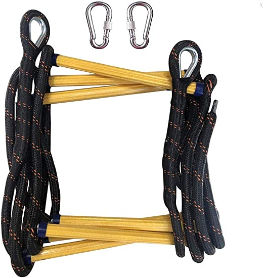 FIREDUXYL Escalera de Cuerda Negra Emergencia, portátil Escalera de suspensión de Emergencia Cuerda de Escape, Antideslizante Durable Fácil de Usar Escalera,25m/83ft: Amazon.es: Hogar