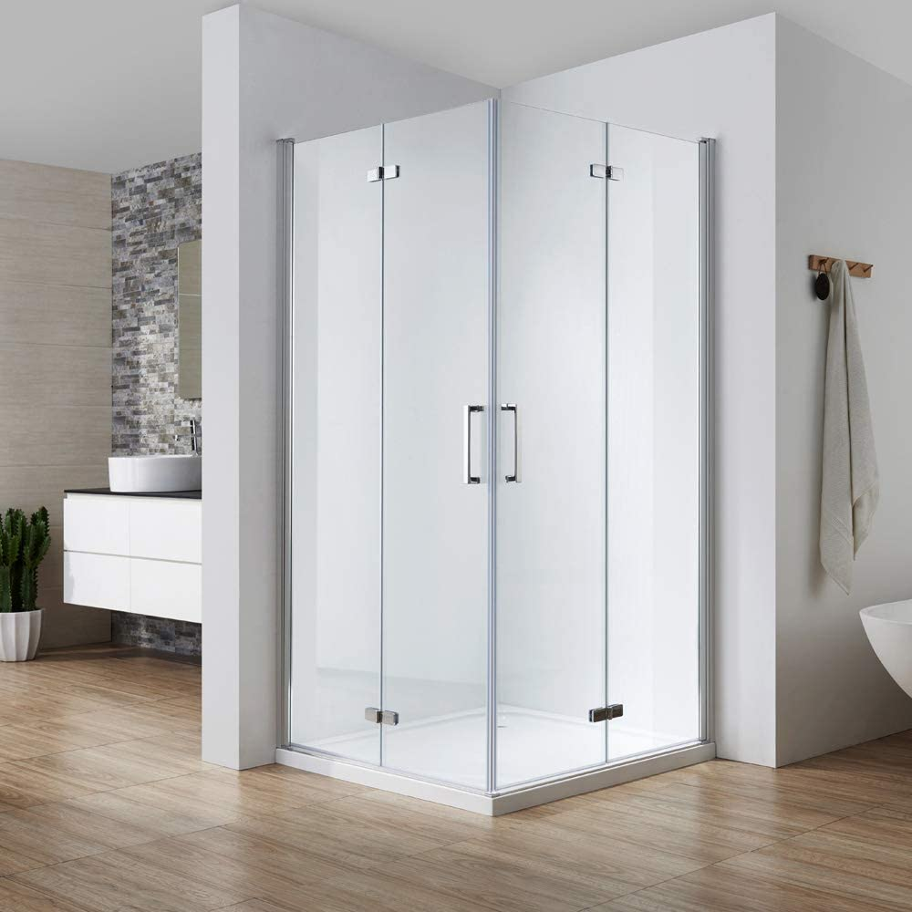 Cabina de ducha plegable 75 x 90, puerta de entrada en esquina, plegable 180°, se abre hacia dentro y exterior, cristal templado Nano de 6 mm, altura 195 cm: Amazon.es: Bricolaje y herramientas