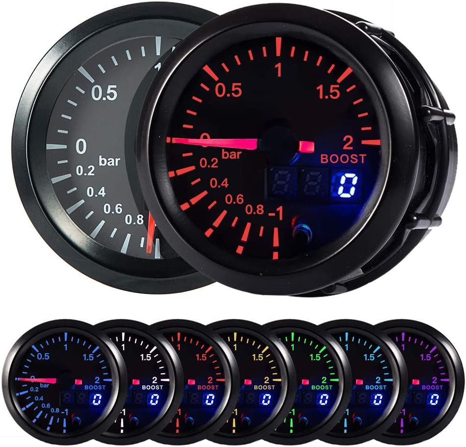 "HOTSYSTEM 7 Color Turbo Boost/Vacuum Gauge Kit Pointer & LED Digital Readouts 2-1/16"" 52mm Black Dial for Car Truck(Bar)"