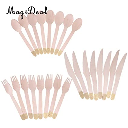 JEWH [24pcs] Party Knife Fork Teaspoon - Steak Knife Dinner Fork - Wood Handle