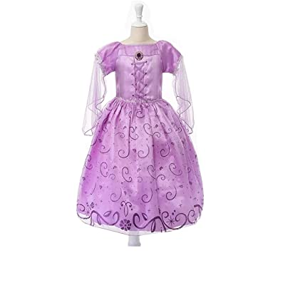 Princess Rapunzel Dress with Braid Headband Hair Wig for Kids Girls Play Costume Cosplay Birthday Party: Clothing