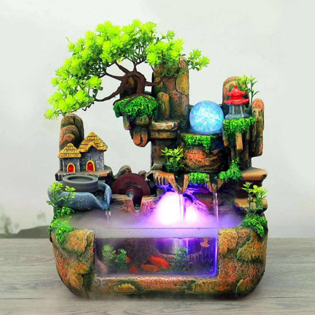 Tabletop Fountain, Mini Silent Indoor Outdoor 12LED Waterfall Fountain Zen Meditation Desktop Simulation Resin Rockery Water Fountain Bonsai Home Decor with Atomizer for Office Bedroom Relaxation(US)
