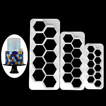 bhty235 Molde de plástico para hornear tartas, 3 piezas, hexagonal, cortador de galletas, fondant, herramientas de decoración: Amazon.es: Hogar