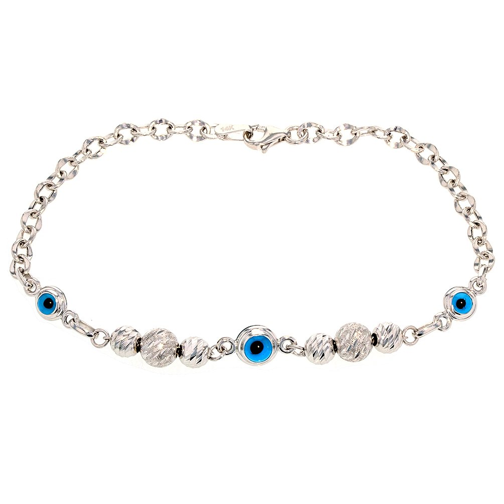 Textured 14k White Gold Gold Blue Evil Eye Beaded Chain Bracelet, 8''