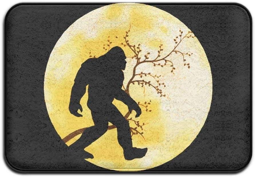 Funny Bigfoot Sasquatch Full Moon Comfortable Indoor/Outdoor Entrance Mat Doormat Non-Slip Backing Bedroom Floor Carpet Bathroom Kitchen Rug Soft Yoga Pet Pad Home Decor