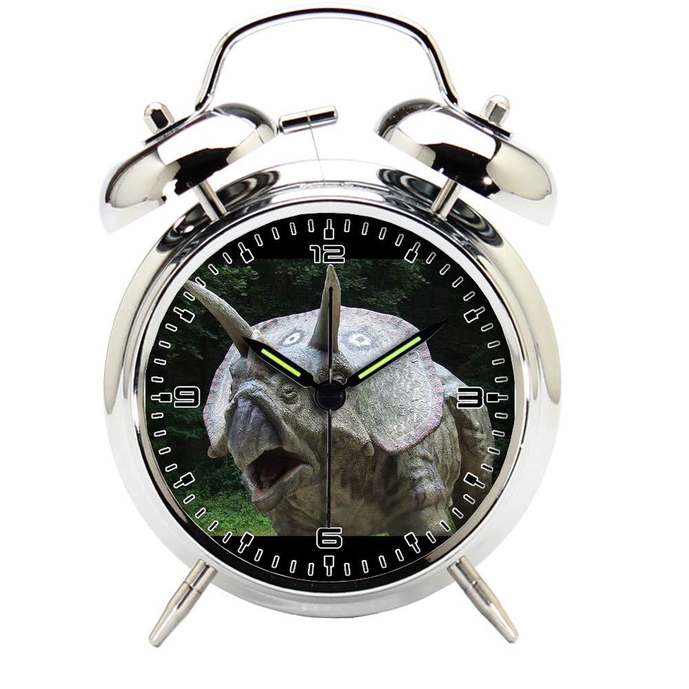Children's Room Silver Dinosaur Silent Alarm Clock Twin Bell Mute Alarm Clock Quartz Analog Retro Bedside and Desk Clock with Nightlight-206.312_Dinosaur, Park, Prehistoric Times, Animal, Predator