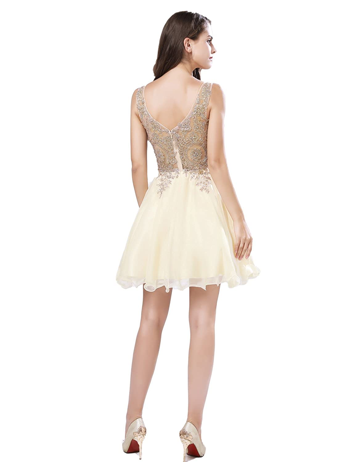 Belle House A Line Chiffon Homecoming Dresses 2019 Short for Juniors V Neck Prom Ball Gown with Beads